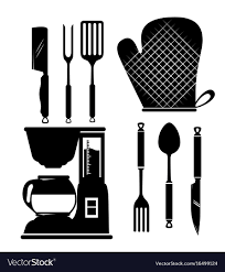 kitchen utensils silhouette vector free.  Vector Kitchen Utensils Icon Set Vector Image With Utensils Silhouette Vector Free U