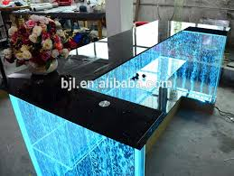 pop unique rectangular led reception counter with top glass acrylic glass display reception desk