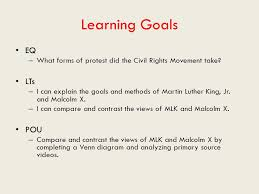 Differences Between Mlk And Malcolm X Venn Diagram Do Now List Three Examples Of Non Violent Resistance Summarize What