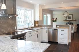 White Ice Granite Kitchen Snow White Quartz Countertop On Painted White Cabinets North