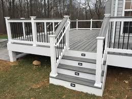metal handrails for deck stairs. trex deck steps lights cap rail white vinyl railings trim wrap black metal balusters paver handrails for stairs a