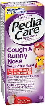 Pediacare Cough Runny Nose Plus Acetaminophen Liquid Cherry Flavor 4 Oz