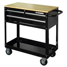 3 drawer rolling tool cart with wood top black houc3603b1qwk the home depot