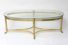 brass glass coffee table oval