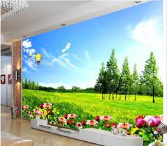 3d room wallpaper custom mural non woven wall sticker prairie flower blue sky white clouds