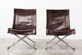 mid century folding leather chrome lounge chairs