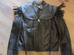 details about vintage harley davidson willie g fringe leather jacket women s size medium