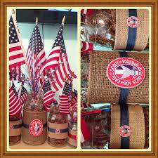 Eagle Party Decorations Patriotic Burlap Mason Jars Eagle Court Of Honor Centerpieces