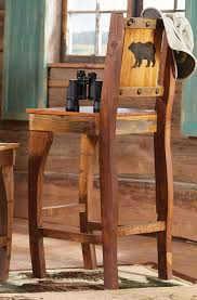 Barnwood Bar barnwood barstool w carved bear bar height 3004 by guidejewelry.us