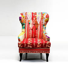 Wingback Chair Lovely Patchwork Design Armchair Multicoloured Upholstered Fabric