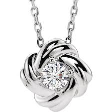 14k white gold diamond love knot necklace 1 6 ctw