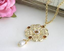 Victorian <b>Style Vintage</b> Gold Chain swarovski Crystal Pearl ...