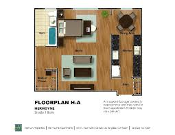 rent in los angeles california. furniture plan h-a (studio 1 ba 725 sf) by hermoyne apartments in los angeles rent california