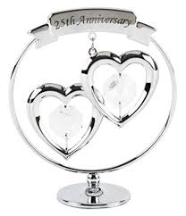 25th anniversary silver plated keepsake gift with clear swarvoski crystal elements by haysom interiors