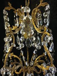 small antique brass crystal chandelier c 1920 2 of 7