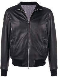black leather and wool leather er jacket from barba featuring a ribbed stand up collar long sleeves a front zip fastening a ribbed hem and cuffs and