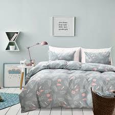 details about flamingo bedding grey duvet cover set pink flamingo and palm tree bedding set