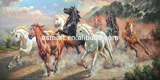 running horse painting whole high quality and low assured handmade eight horses oil painting on canvas eight horses oil painting on running