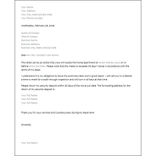 30 day notice to landlord form sample 30 day notice to terminate tenancy rental termination letter