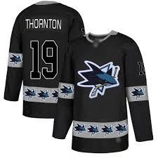 Adidas Team Sharks Joe Fashion Logo Nhl Thornton San Jersey Black - 19 Authentic Men's Jose