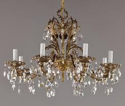 27 spanish brass czech crystal chandelier c1950 vintage antique red gold 1 of 10only 1 available