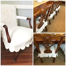 dining chair slipcovers head chairs in monogrammed scalloped slips side chairs in simple pleated seat slips holly mathis