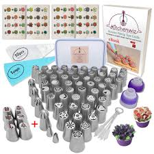 116 Russian Piping Tips Set Cake Decorations Kit Include 56 Icing Nozzles Piping 4 Sphere Ball Tips 2 Leaf Tips 50 Disposable Pastry Bags Silicon