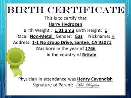 Element Birth Certificate Element Baby Book Project Ppt Download
