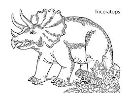 Triceratops Dinosaur Smiling Coloring Pages For