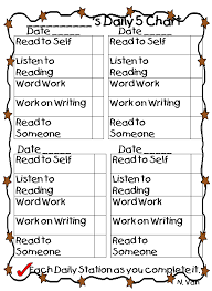 Daily Checklist Chart Daily Five Student Checklist Printable I Could Make This So