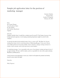 Sample Job Application Letter For The Position Marketing Manager