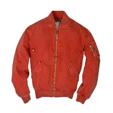 sun faded cotton ma 1 jacket in blue
