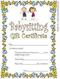 babysitting certificates babysitting gift certificate template 4 free babysitting
