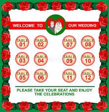 Wedding Frame Seating Plan Table Chart Stock Vector