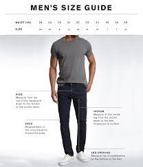 Mens Denim Size Guide Mavi Jeans