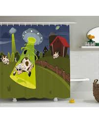 cartoon shower curtain farm cow alien comics print for bathroomwaterproof and fabric for kids