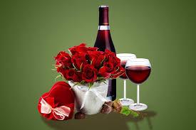 romantic roses flowers gift wine glass present glasses