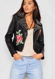 luna black faux leather studded embroidered biker jacket