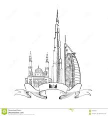 Architectural drawings of famous buildings Photorealistic Travel Uae Architectural Sign Dubai City Label Dreamstimecom Travel Uae Architectural Sign Dubai City Label Stock Vector