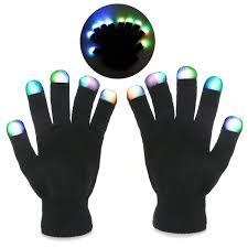 Light Up Gloves Amazon Foxnovo Novelty 7 Mode Led Gloves Rave Light Finger Lighting