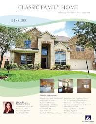 marketing flyer for a house in houston area graphic logo attached please flyer for house if any question please feel to contact me thanks best regard