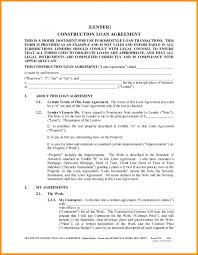 Sample Construction Loan Agreement Construction Loan Agreement Template 3