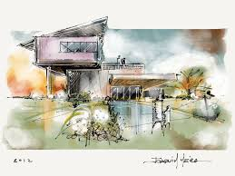 modern architecture sketch. Sketch Uses Combination Of Watercolour, Pen And Hatching To Convey A Variety Information Including Modern Architecture