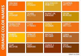 Shades Of Orange Color Chart With Names Www