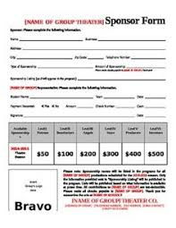 sponsorship forms for fundraising sponsorship level template google search harvest fest