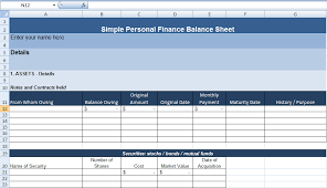 Simple Personal Balance Sheet Example Simple Personal Finance Balance Sheet Template Exceldox