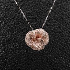 diamond flower pendant diamond flower