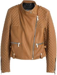 barbara bui quilted detailed leather biker jacket