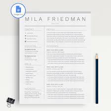 Mila Friedman Google Docs Resume Template Cv Template