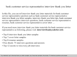 Thank You Letter For Customer Service Bank Customer Service Representative
